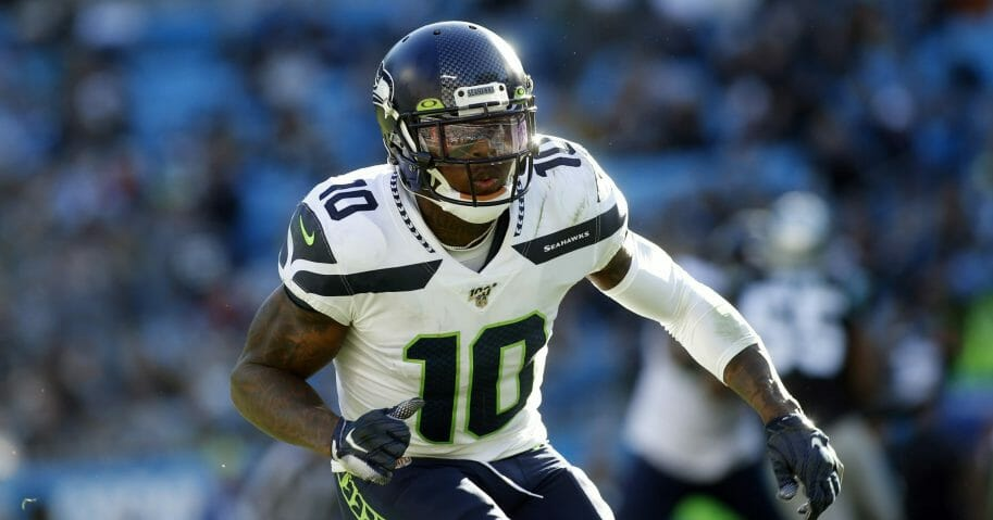 Seattle Seahawks wide receiver Josh Gordon runs a play against the Carolina Panthers.