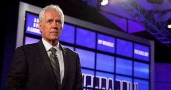 "Host of ""Jeopardy!"" Alex Trebek attends a press conference to discuss the upcoming Man V. Machine ""Jeopardy!"" competition at the IBM T.J. Watson Research Center on Jan. 13, 2011, in Yorktown Heights, New York."