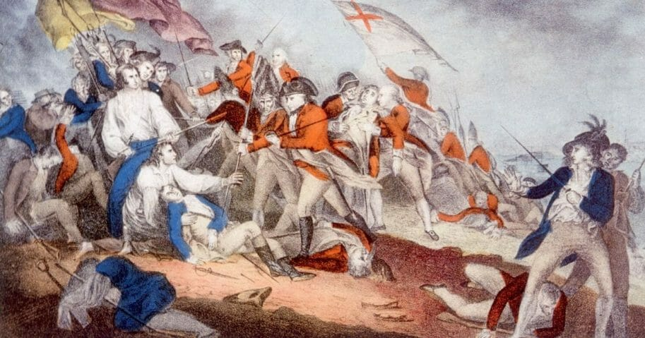The Battle of Bunker Hill, June 17, 1775, June 17, 1775, lithograph by Nathaniel Currier after painting by J. Trumbull.