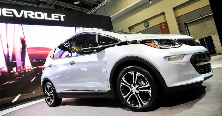 The 2017 Chevy Volt is on display during the Washington Auto Show at the Washington Convention Center in Washington, D.C., on Jan. 28, 2016.