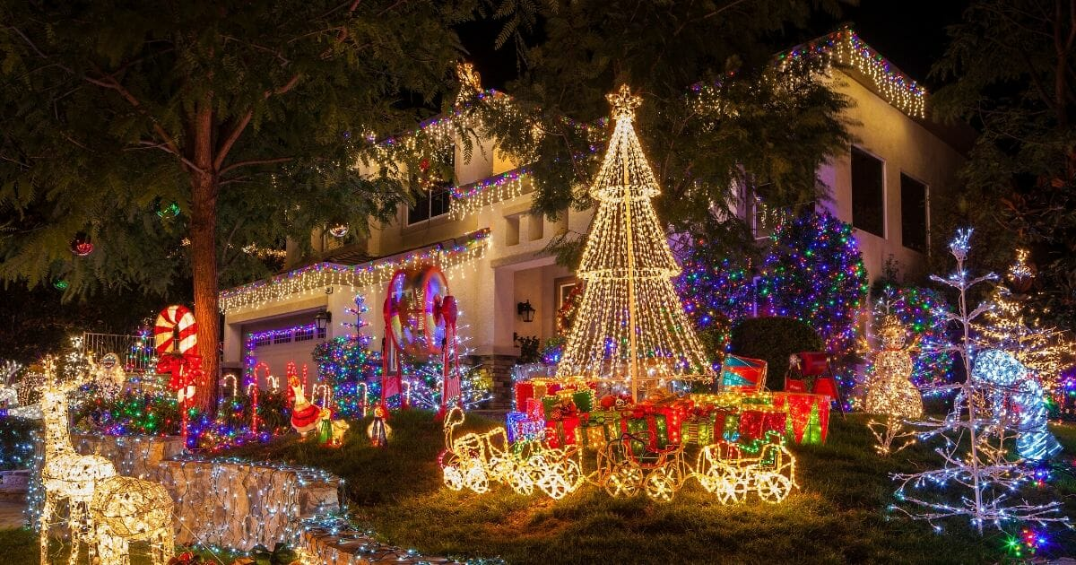 Christmas lights on home in Southern California