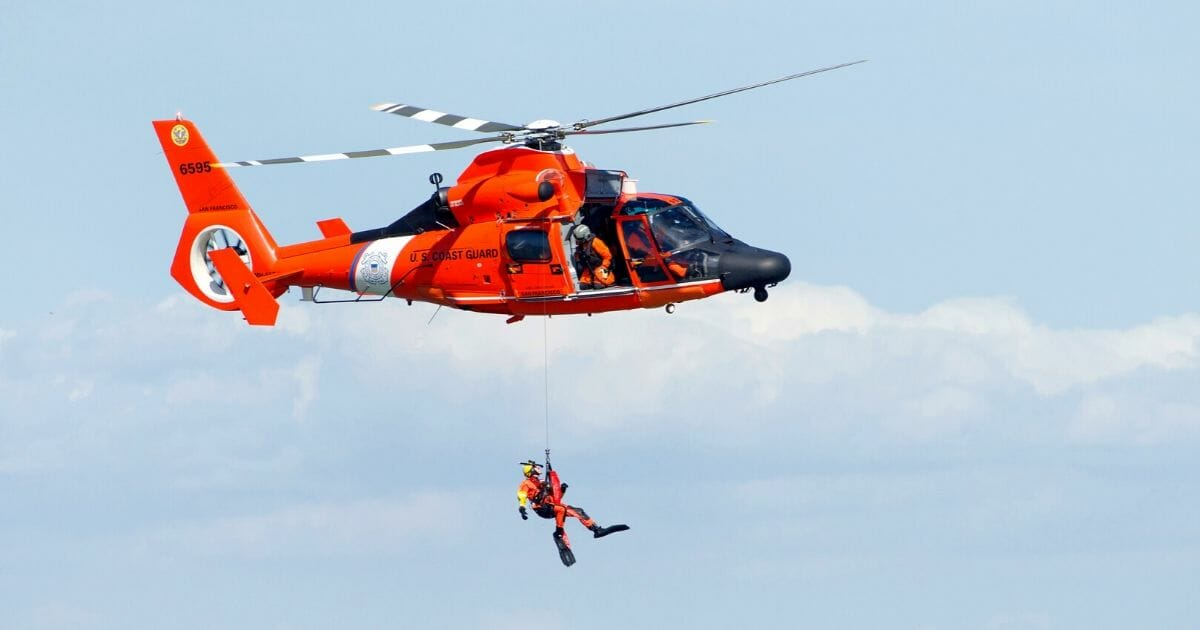 Coast Guard helicopters perform rescue recreation performance and standby to assist in the 37th annual Fleet Week Air Show in San Francisco, California, on Oct. 5, 2018.