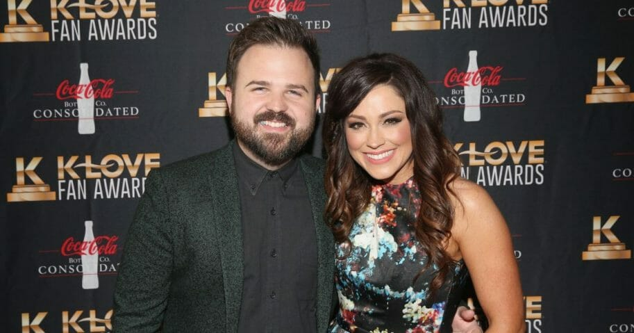 Cody Carnes and Kari Jobe arrive at the 5th Annual KLOVE Fan Awards at The Grand Ole Opry on May 28, 2017, in Nashville, Tennessee.