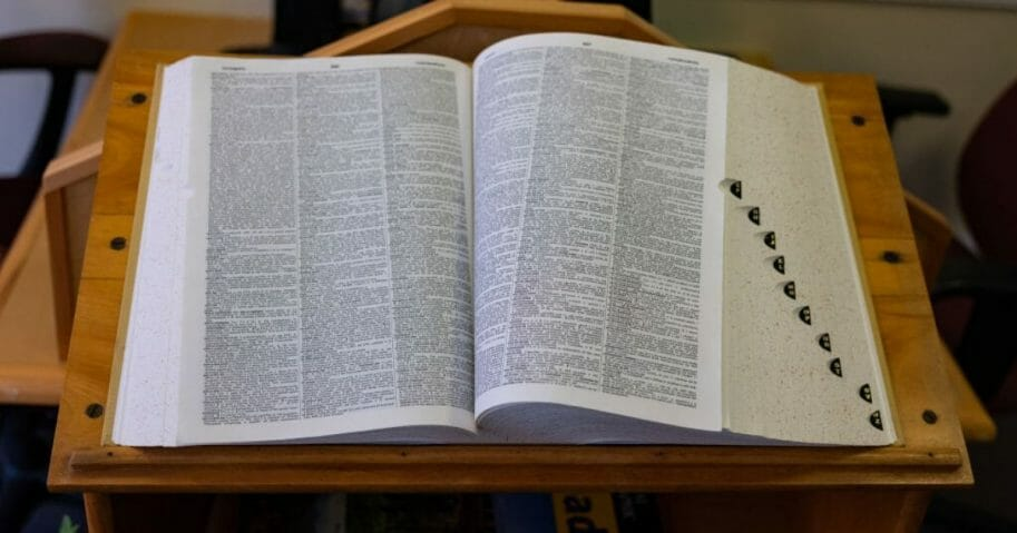 A view of the Random House Dictionary inside the Rensselaerville Public Library in Rensselaerville, New York, on March 7, 2019.