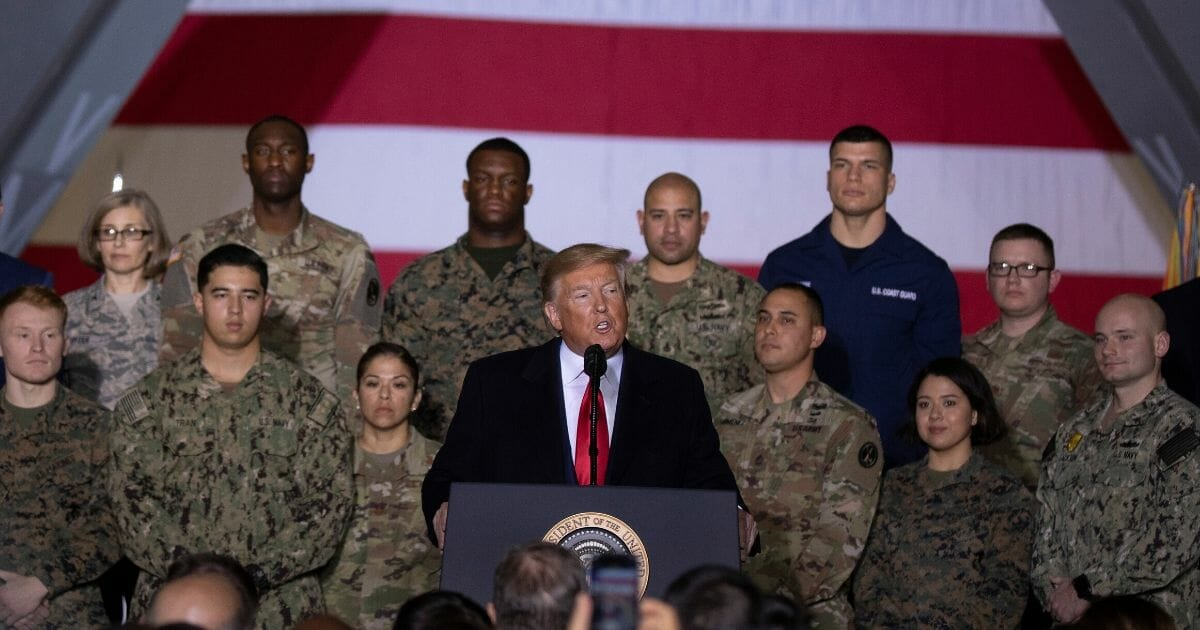 President Donald Trump speaks at the signing ceremony for S.1709, The National Defense Authorization Act for Fiscal Year 2020, on Dec. 20, 2019, at Joint Base Andrews, Maryland.
