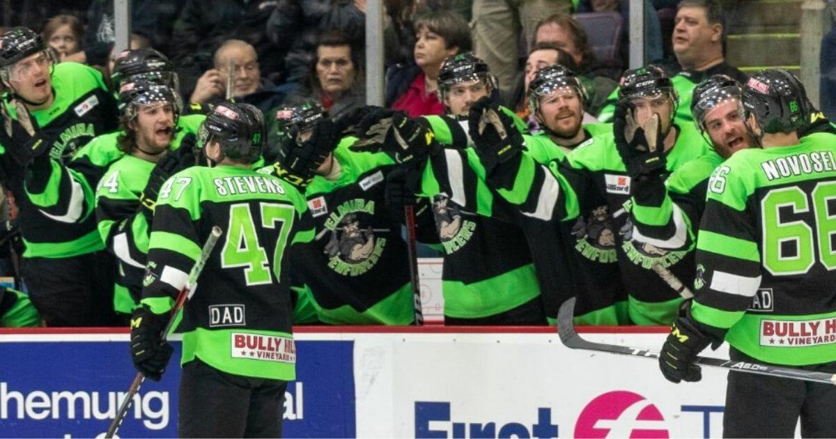 The Elmira Enforcers celebrate a goal.