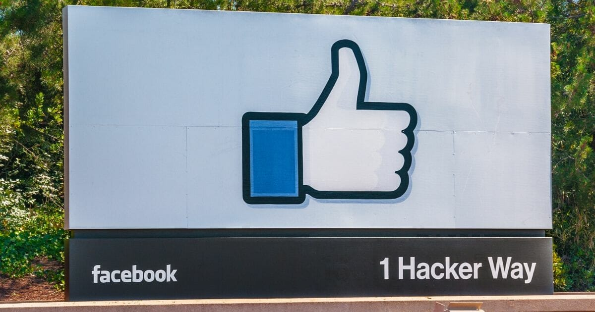 Facebook Incorporation's entrance sign at the corporate office in California.