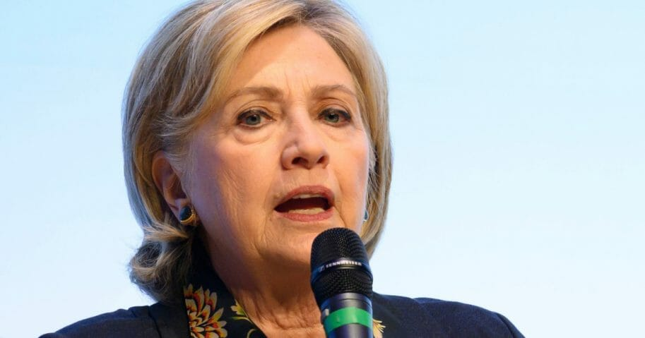 Former Democratic presidential candidate Hillary Clinton speaks at Swansea University in Wales.