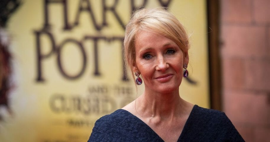 """J.K. Rowling attends the press preview of """"Harry Potter & The Cursed Child"""" at Palace Theatre in London on July 30, 2016."""