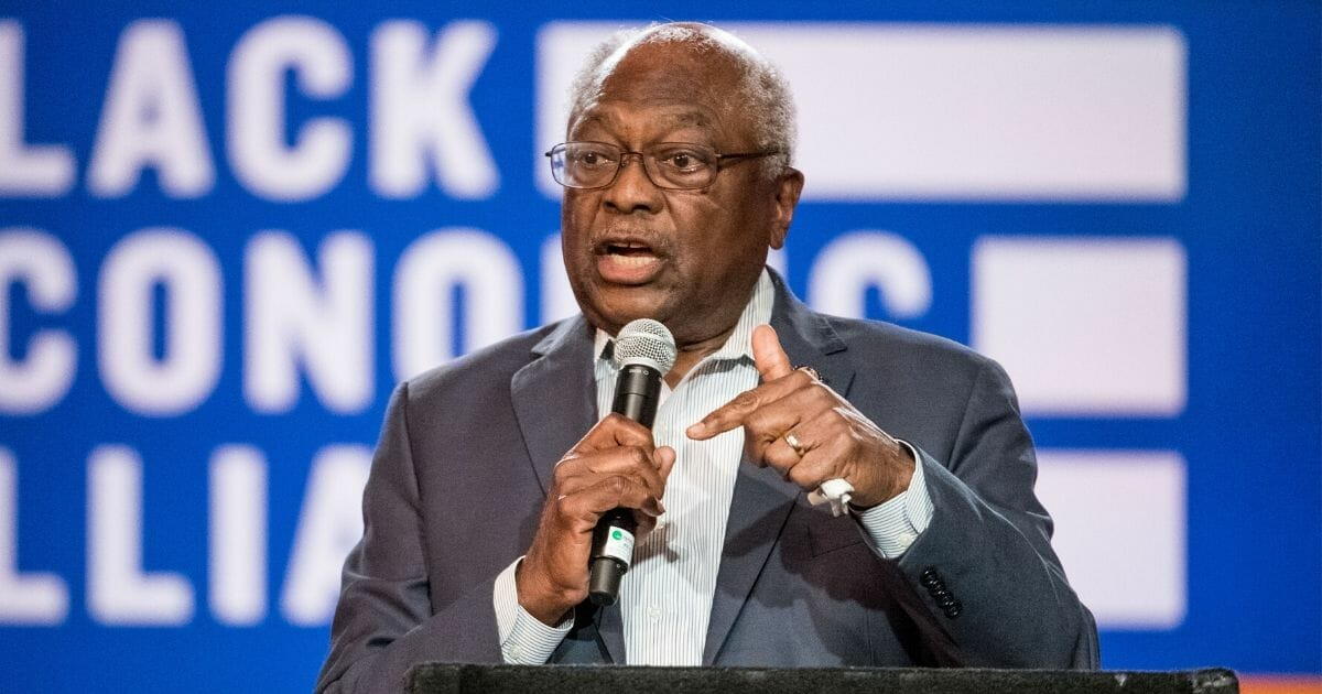 House Majority Whip Rep. James Clyburn (D-South Carolina) talks to the audience during the Black Economic Alliance Forum at the Charleston Music Hall on June 15, 2019, in Charleston, South Carolina.