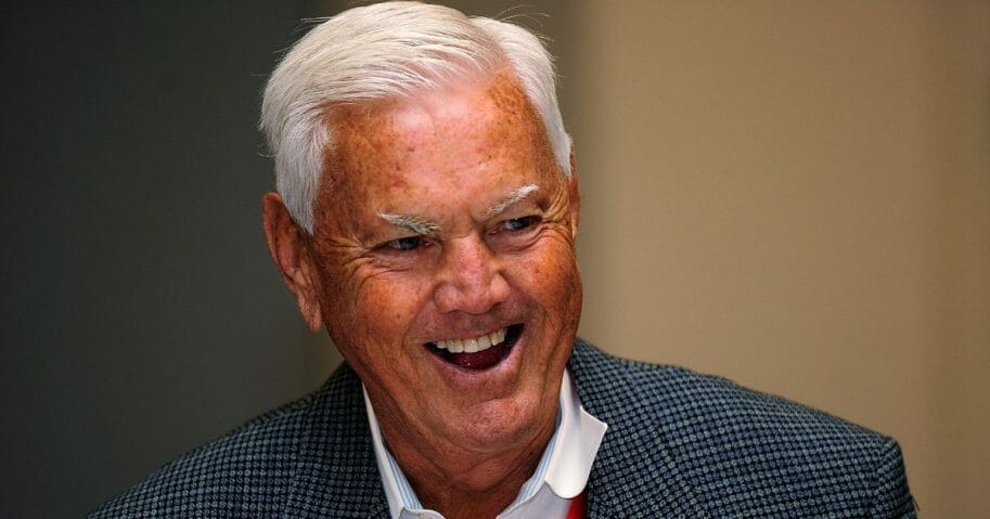 NASCAR Hall of Famer Junior Johnson laughs during NASCAR Hall of Fame Voting Day at the NASCAR Hall of Fame on Oct. 13, 2010, in Charlotte, North Carolina.