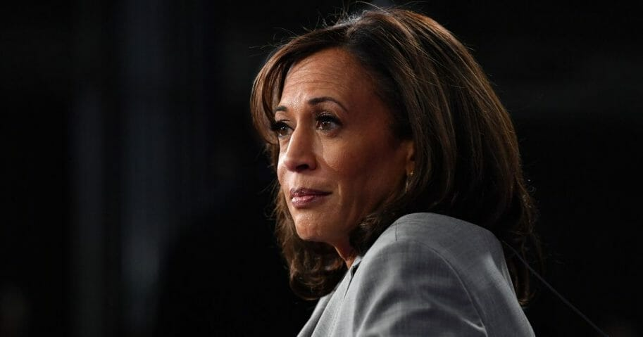 California Sen. Kamala Harris speaks to the media in the Spin Room after participating in the fifth Democratic primary debate of the 2020 presidential campaign season co-hosted by MSNBC and The Washington Post at Tyler Perry Studios in Atlanta on Nov. 20, 2019.