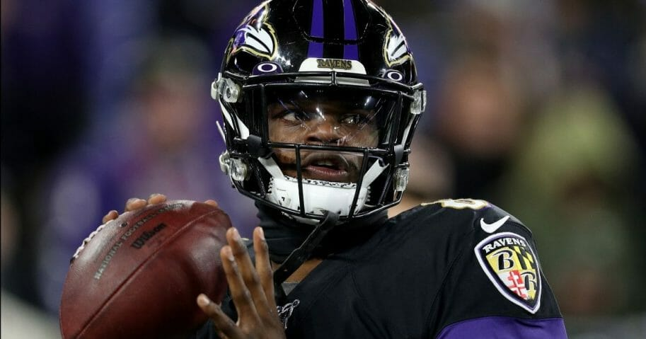 Baltimore Ravens quarterback Lamar Jackson warms up before a game against the New York Jets at M&T Bank Stadium in Baltimore on Dec. 12, 2019.