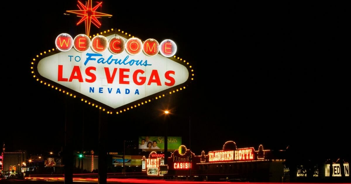 The image above shows a welcome sign lit up in Las Vegas.