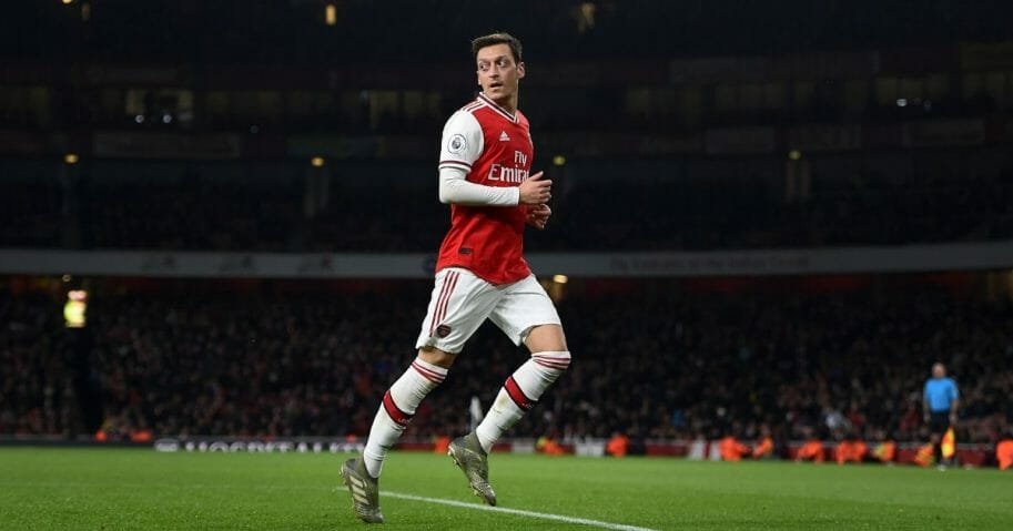 Mesut Ozil of Arsenal runs on during the Premier League match against Southampton FC at Emirates Stadium in London on Nov. 23, 2019.