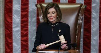 Speaker of the House Nancy Pelosi (D-California) presides over the House of Representatives as they vote on the second article of impeachment of President Donald Trump in the House Chamber at the U.S. Capitol on Dec. 18, 2019, in Washington, D.C.