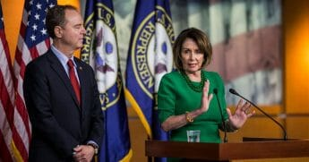 House Speaker Nancy Pelosi, right, speaks during a news conference alongside House Intelligence Committee Chairman Rep. Adam Schiff on Capitol Hill on Oct. 15, 2019, in Washington, D.C.