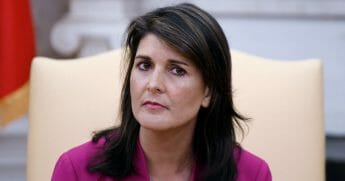Nikki Haley, the United States Ambassador to the United Nations looks on during a meeting with US President Donald Trump speaks in the Oval office of the White House Oct. 9, 2018, in Washington, D.C.