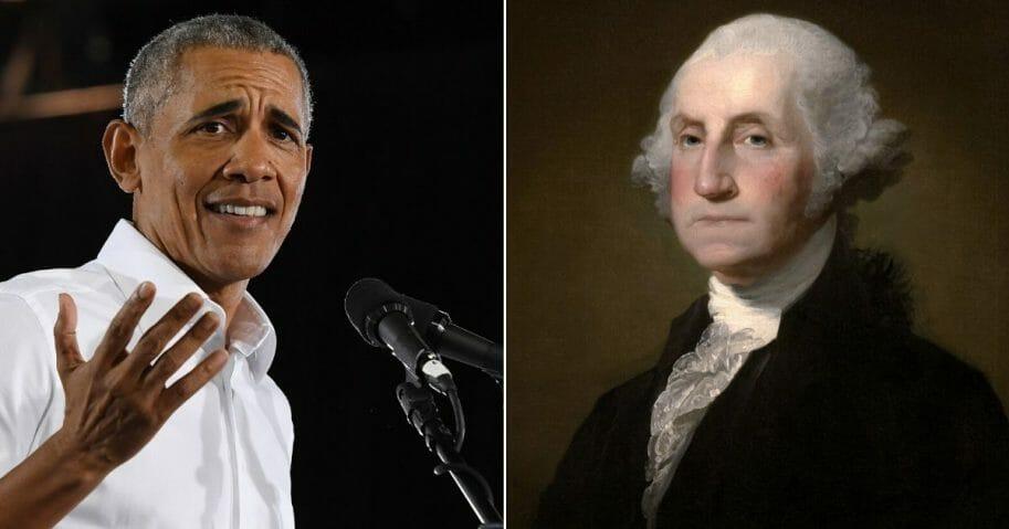 Former Presidents Barack Obama, left, and George Washington, right.