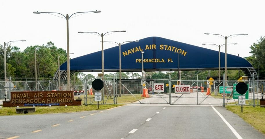 A general view of the atmosphere at the Pensacola Naval Air Station following a shooting on Dec. 6, 2019, in Pensacola, Florida.