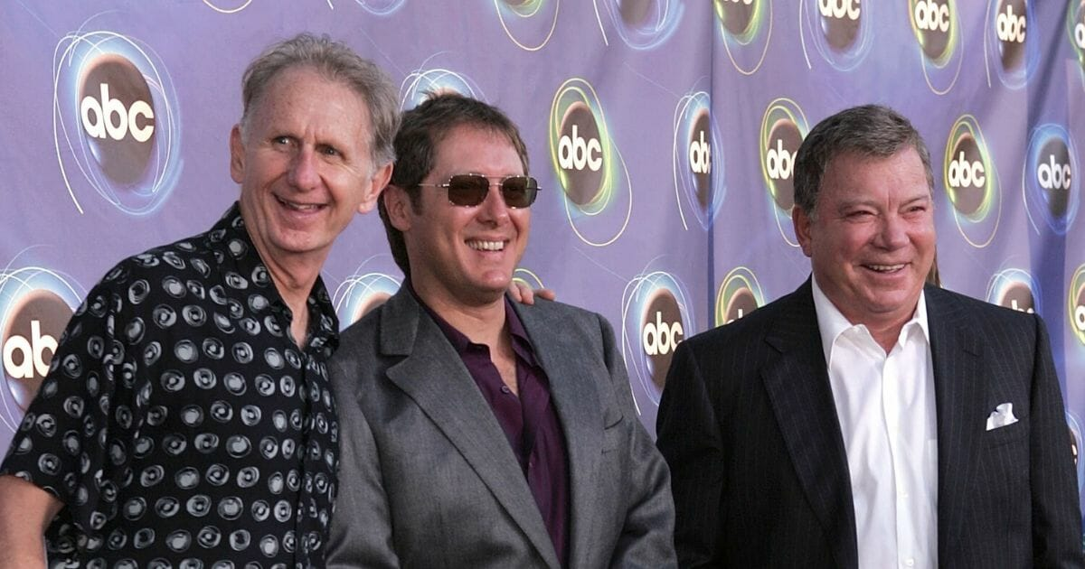Rene Auberjonois, left, James Spader, center, and William Shatner in July 2005. Auberjonois passed away Sunday after battling lung cancer.