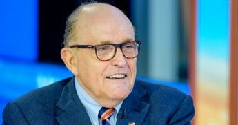 "Former New York City Mayor and attorney to President Donald Trump Rudy Giuliani visits ""Mornings With Maria"" with anchor Maria Bartiromo at Fox Business Network Studios on Sept. 23, 2019, in New York City."
