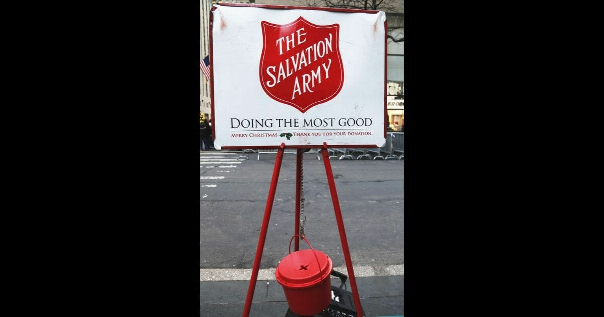Salvation Army red kettle for collections on Dec. 19, 2013, in midtown Manhattan in New York City.