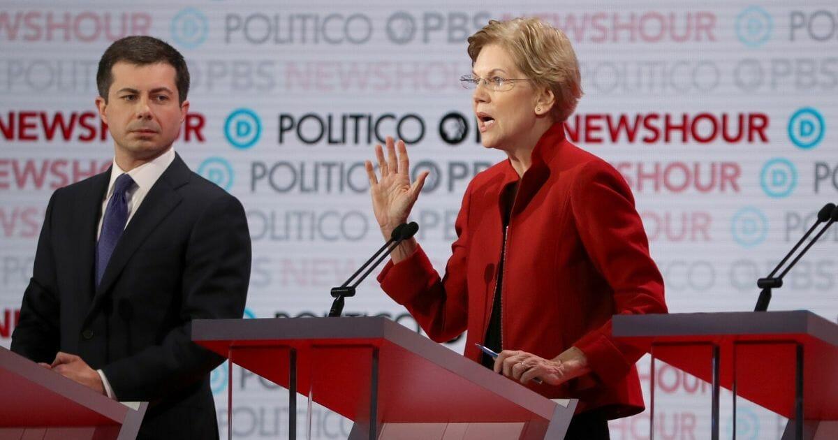 Sen. Elizabeth Warren speaks as South Bend, Indiana.