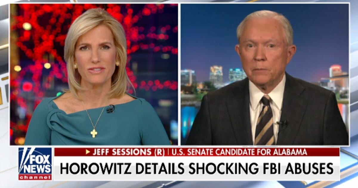 """Former Attorney General Jeff Sessions appears on Fox News """"The Ingrham Angle"""" with host Laura Ingraham on Wednesday."""