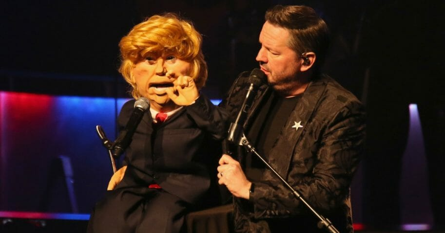 Comic ventriloquist and impressionist Terry Fator performs with his President Donald Trump puppet during his show at the Mirage Hotel & Casino in Las Vegas on March 12, 2018.