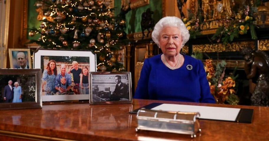 Britain's Queen Elizabeth II is seen in Windsor Castle, west of London, after recording her annual Christmas Day message