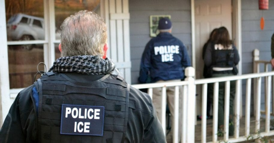 In this handout provided by U.S. Immigration and Customs Enforcement, foreign nationals were arrested during a targeted enforcement operation conducted by ICE aimed at immigration fugitives, re-entrants and at-large criminal aliens on Feb. 9, 2017, in Atlanta, Georgia.