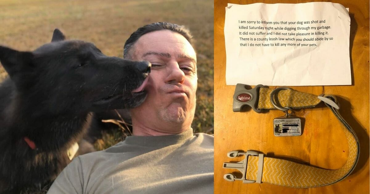 Chad Stricker and his dog, along with a note left by an anonymous stranger,