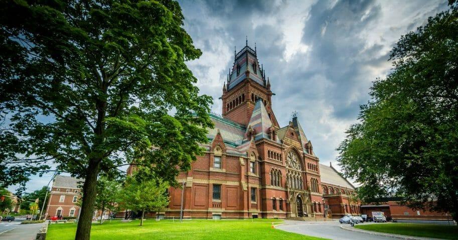 The Harvard Memorial Hall at Harvard University in Cambridge, Massachusetts.