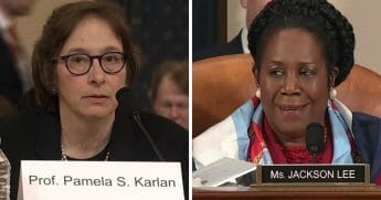 Stanford University law professor Pamela Karlan, left, and Rep. Sheila Jackson Lee, right.