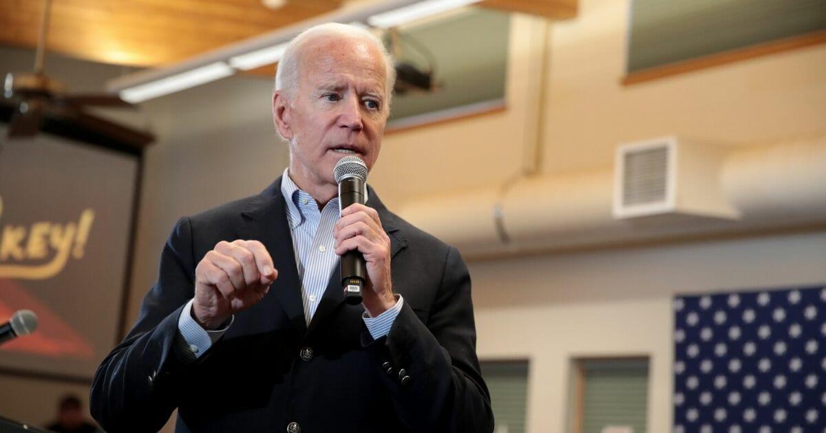 Former Vice President Joe Biden speaks during a campaign stop in Algona, Iowa, on Monday.