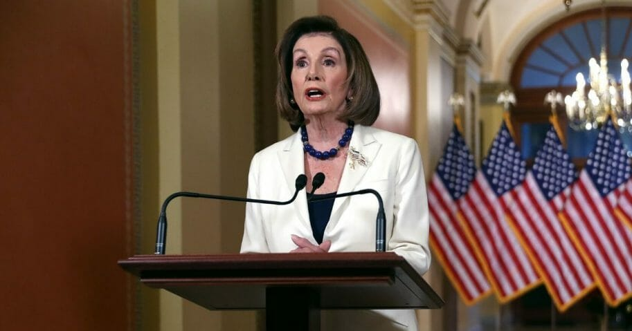 Speaker of the House Nancy Pelosi announced that the House will proceed with articles of impeachment against President Donald Trump at the Speaker's Balcony in the U.S. Capitol on Dec. 5, 2019 in Washington, D.C.