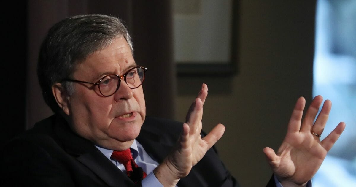 Attorney General William Barr speaks about the Justice Department's Russia investigation into the 2016 presidential campaign during the Wall Street Journal's annual CEO Council meeting on Dec. 10, 2019, in Washington, D.C.