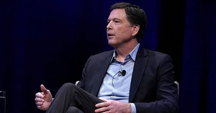 "Former FBI Director James Comey is pictured in a 2018 file photo discussing his book ""A Higher Loyalty"" at George Washington University in Washington."
