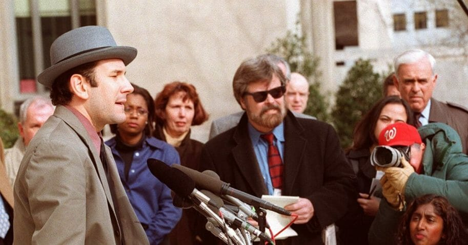Drudge Report founder Matt Drudge speaks to reporters outside the U.S. District Courthouse in Washington, D.C., on March 11, 1998.