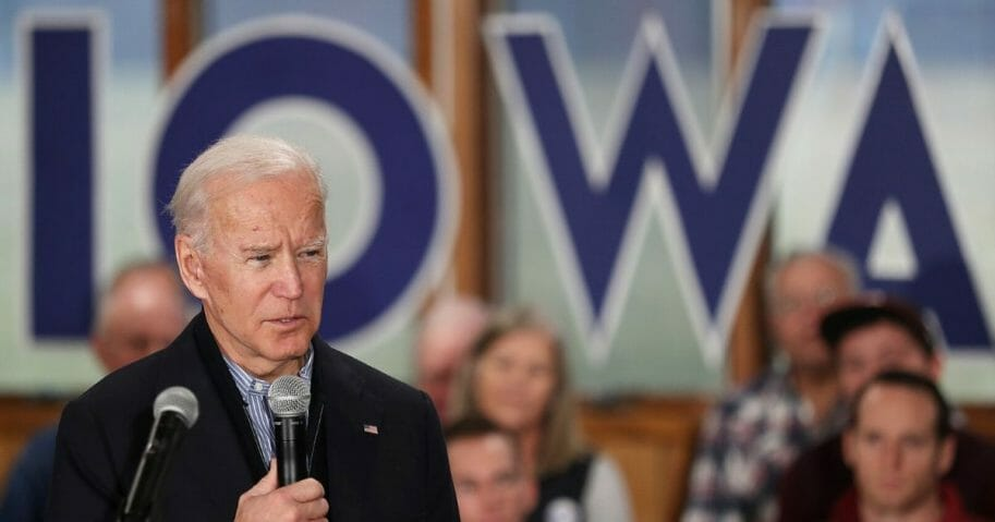 Democratic presidential candidate former Vice President Joe Biden makes a campaign stop at Tipton High School on Dec. 28, 2019, in Tipton, Iowa.