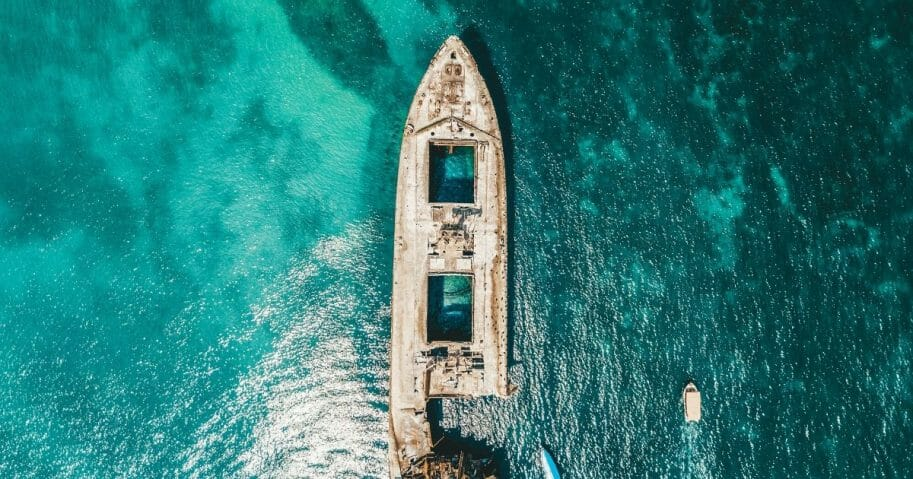 An aerial drone view of a shipwreck.
