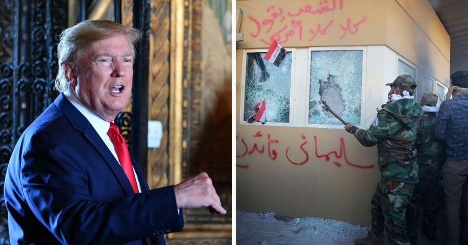 Left, President Donald Trump delivers a Christmas Eve message to American armed forces on Dec. 24. Right, Iraqi militants attack the U.S. Embassy in Baghdad on Tuesday.