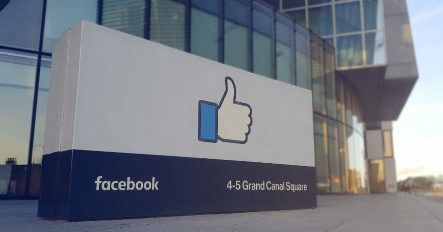 A close-up of a sign outside Facebook's offices in Dublin.