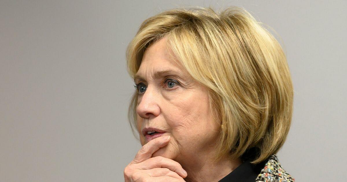 Former Secretary of State Hillary Clinton visits Swansea University on Nov. 14, 2019, in Swansea, Wales.