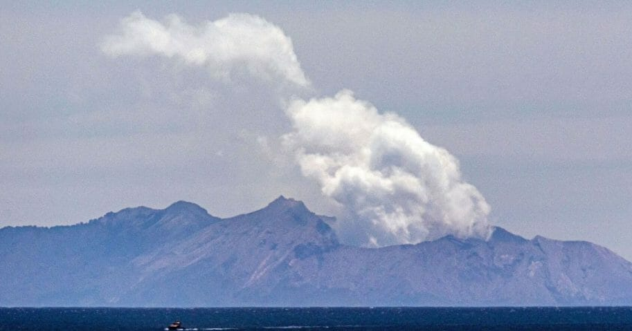 Steam rises from the White Island volcano following the December 9 volcanic eruption, in Whakatane on Dec. 11, 2019.