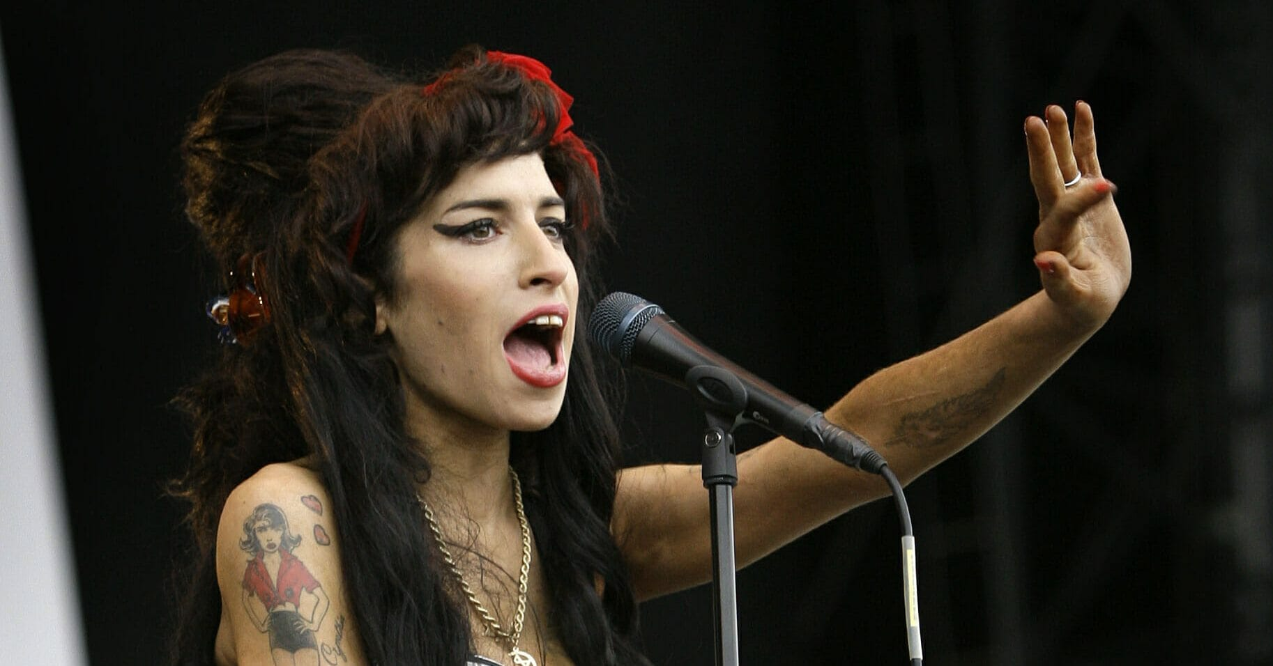 Amy Winehouse performs at the V Festival in Chelmsford, Essex in England on Aug. 17, 2008.