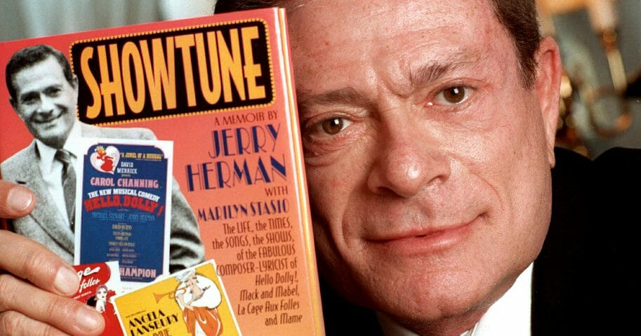 """Composer Jerry Herman displays his book """"Showtune"""" Nov. 19, 1996, in New York."""