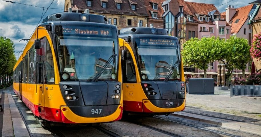 Tram at station stop in Germany