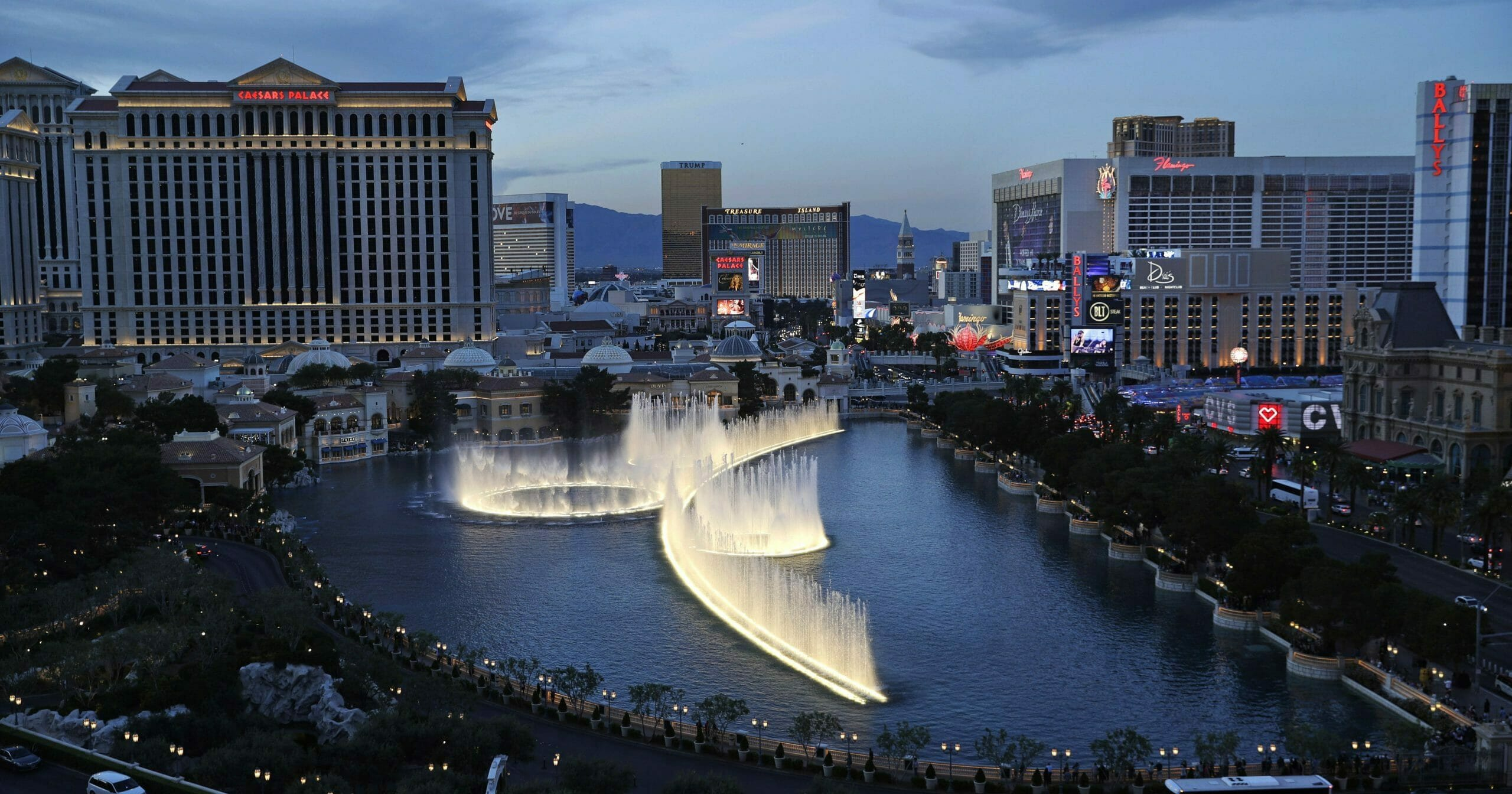 The fountains of the Bellagio, shown erupting along the Las Vegas Strip in 2017, will be a central feature in the NFL's draft April 23-25.